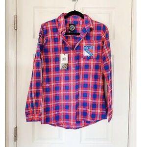NWT NHL New York Rangers Button Down Flannel Shirt
